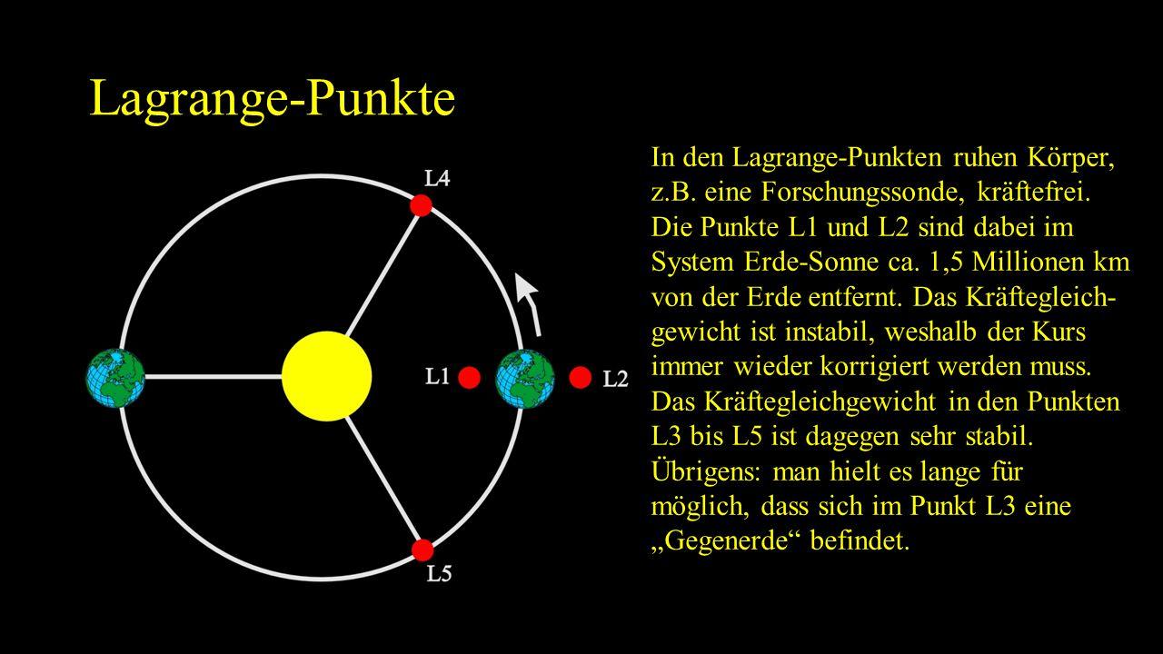 Lagrange-Punkte In den Lagrange-Punkten ruhen Körper, z.B. eine Forschungssonde, kräftefrei. Die Punkte L1 und L2 sind dabei im System Erde-Sonne ca.
