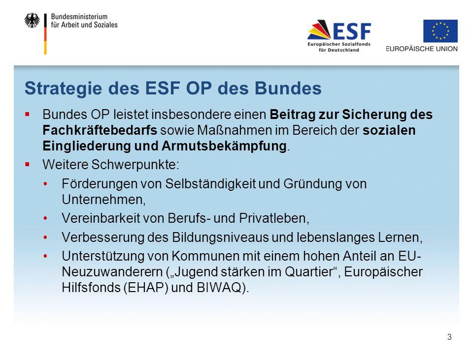 Strategie des ESF OP des Bundes  Bundes OP leistet insbesondere einen Beitrag zur Sicherung des Fachkräftebedarfs sowie Maßnahmen im Bereich der sozi