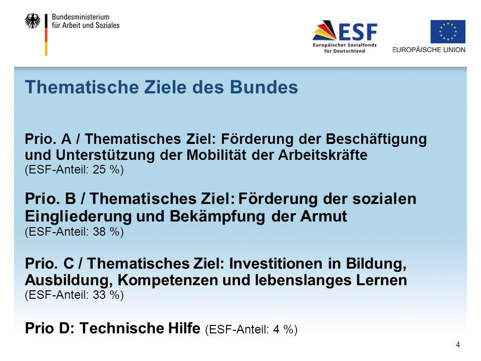 Thematische Ziele des Bundes Prio. A / Thematisches Ziel: Förderung der Beschäftigung und Unterstützung der Mobilität der Arbeitskräfte (ESF-Anteil: 2