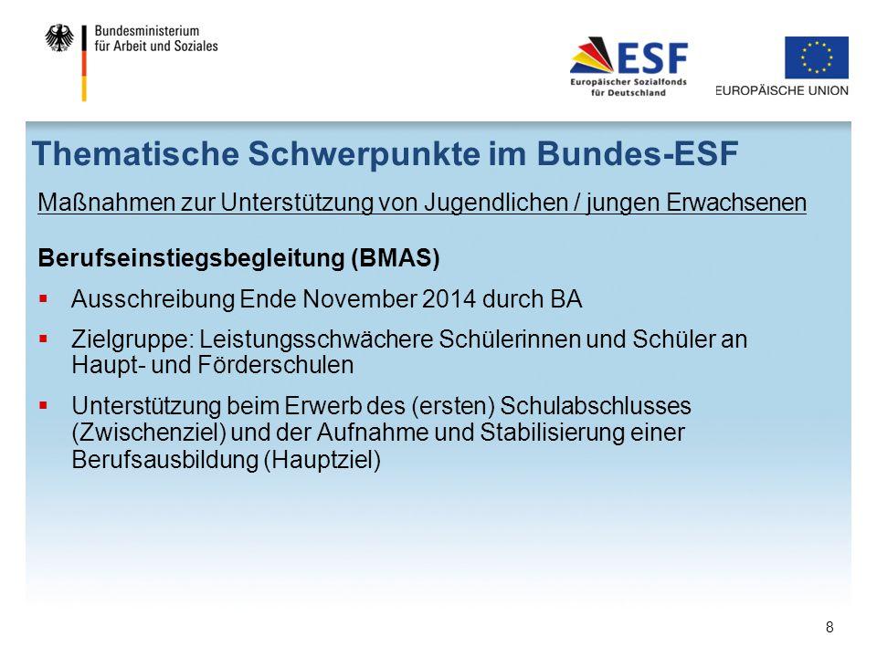 Maßnahmen zur Unterstützung von Jugendlichen / jungen Erwachsenen Berufseinstiegsbegleitung (BMAS)  Ausschreibung Ende November 2014 durch BA  Zielg