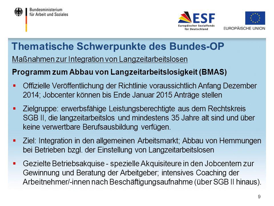 Thematische Schwerpunkte des Bundes-OP Maßnahmen zur Integration von Langzeitarbeitslosen Programm zum Abbau von Langzeitarbeitslosigkeit (BMAS)  Off