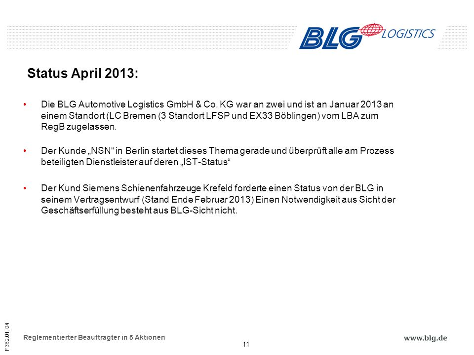 F362.01, 04 Reglementierter Beauftragter in 5 Aktionen Status April 2013: Die BLG Automotive Logistics GmbH & Co. KG war an zwei und ist an Januar 201