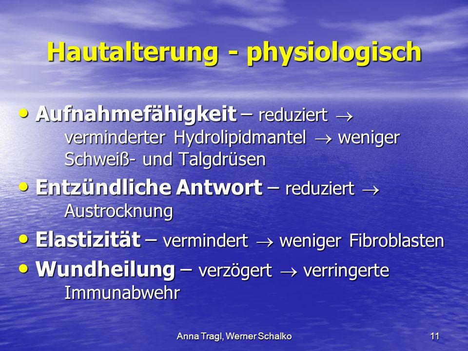 Anna Tragl, Werner Schalko11 Hautalterung - physiologisch Aufnahmefähigkeit – reduziert  verminderter Hydrolipidmantel  weniger Schweiß- und Talgdrü
