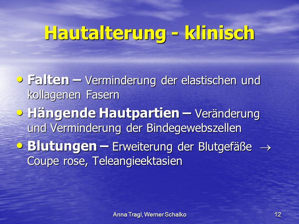 Anna Tragl, Werner Schalko12 Hautalterung - klinisch Falten – Verminderung der elastischen und kollagenen Fasern Falten – Verminderung der elastischen