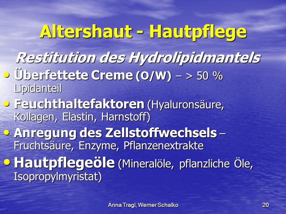 Anna Tragl, Werner Schalko20 Altershaut - Hautpflege Restitution des Hydrolipidmantels Überfettete Creme (O/W) – > 50 % Lipidanteil Überfettete Creme