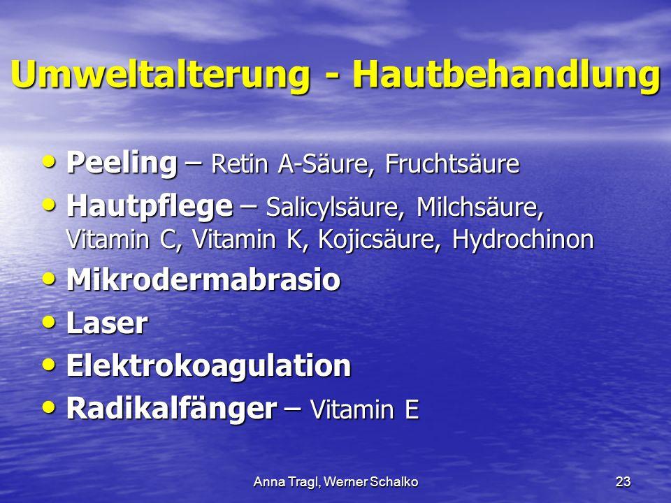 Anna Tragl, Werner Schalko23 Umweltalterung - Hautbehandlung Peeling – Retin A-Säure, Fruchtsäure Peeling – Retin A-Säure, Fruchtsäure Hautpflege – Sa