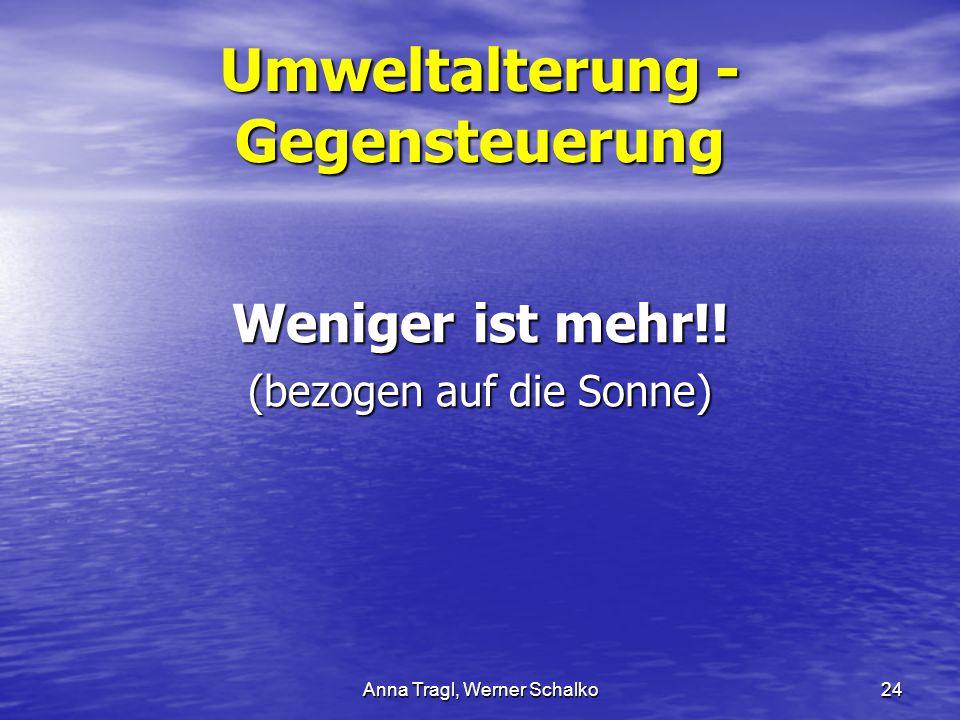 Anna Tragl, Werner Schalko24 Umweltalterung - Gegensteuerung Weniger ist mehr!! (bezogen auf die Sonne)
