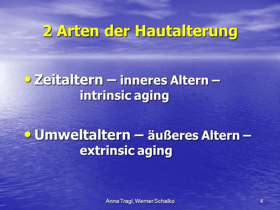 Anna Tragl, Werner Schalko4 2 Arten der Hautalterung Zeitaltern – inneres Altern – intrinsic aging Zeitaltern – inneres Altern – intrinsic aging Umwel