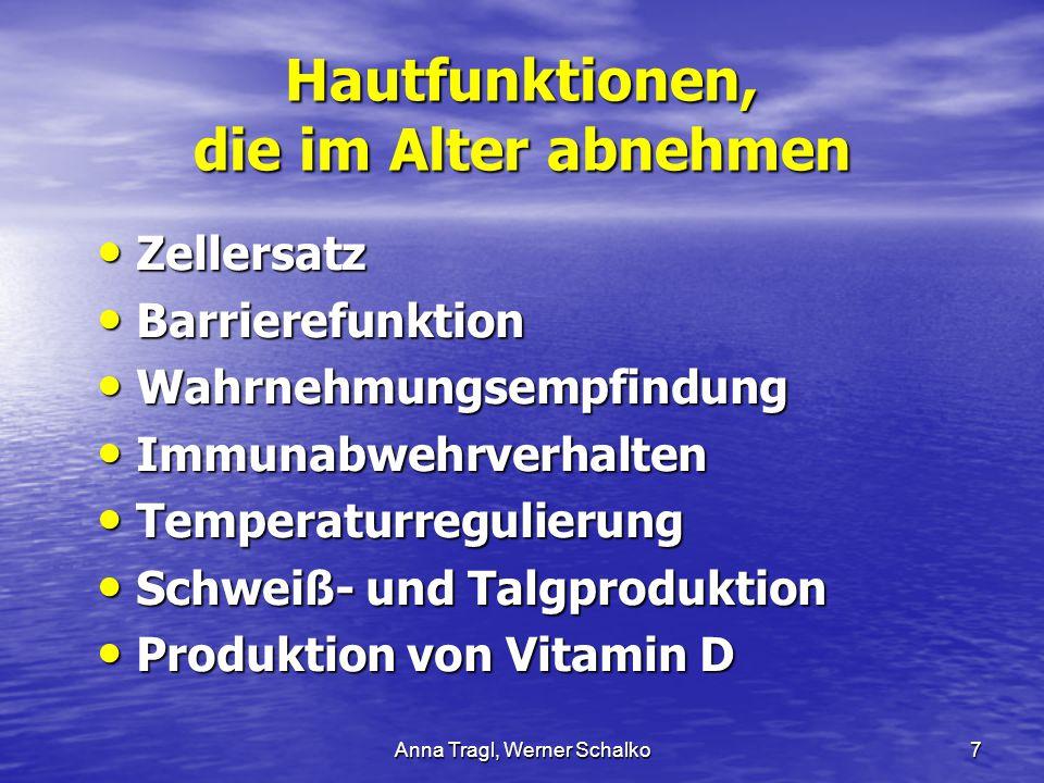 Anna Tragl, Werner Schalko7 Hautfunktionen, die im Alter abnehmen Zellersatz Zellersatz Barrierefunktion Barrierefunktion Wahrnehmungsempfindung Wahrn