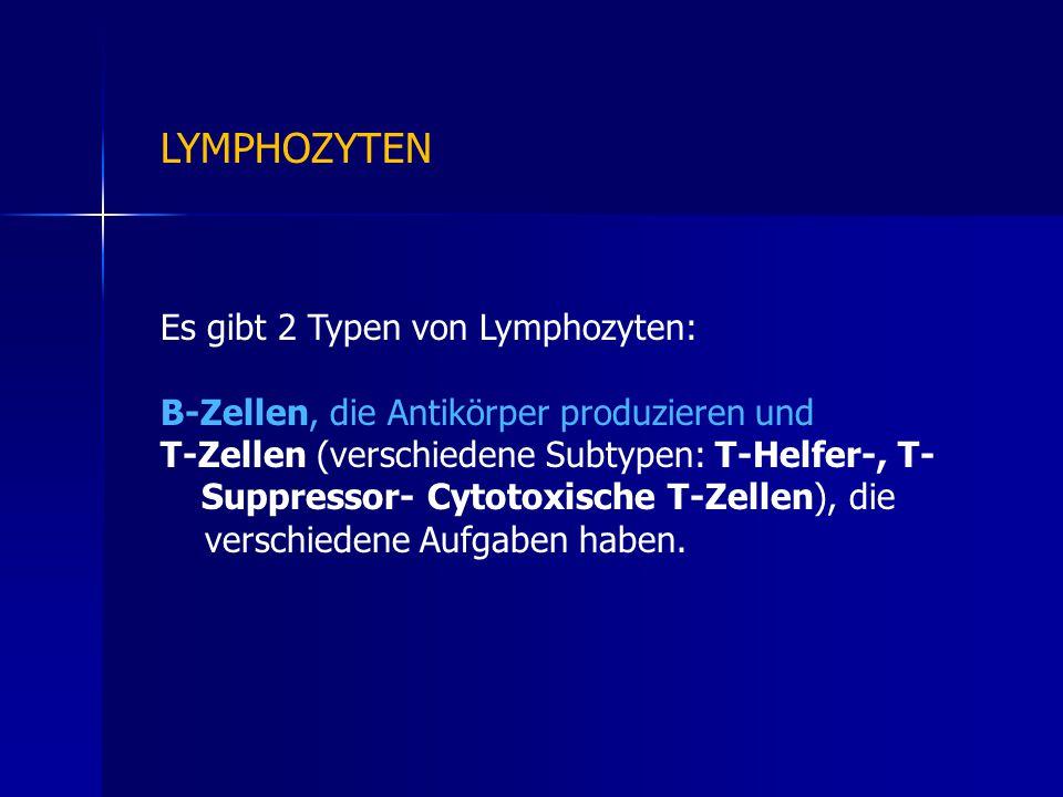 Es gibt 2 Typen von Lymphozyten: B-Zellen, die Antikörper produzieren und T-Zellen (verschiedene Subtypen: T-Helfer-, T- Suppressor- Cytotoxische T-Zellen), die verschiedene Aufgaben haben.