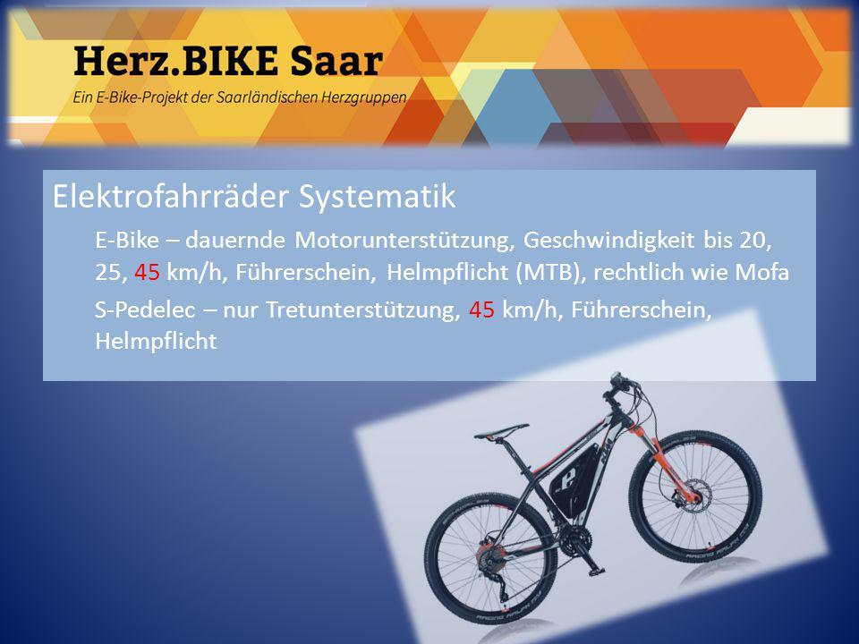 Herz.BIKE Saar Elektrofahrräder Systematik E-Bike – dauernde Motorunterstützung, Geschwindigkeit bis 20, 25, 45 km/h, Führerschein, Helmpflicht (MTB),