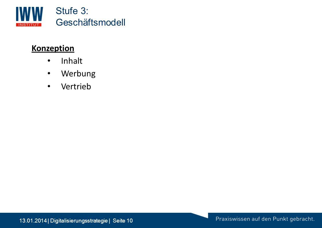 13.01.2014 | Digitalisierungsstrategie | Seite 10 Stufe 3: Geschäftsmodell 10:00 2Stufe 2: Multimedia | 24/7 | Bestellprozess | M&V -Fortentwicklung G