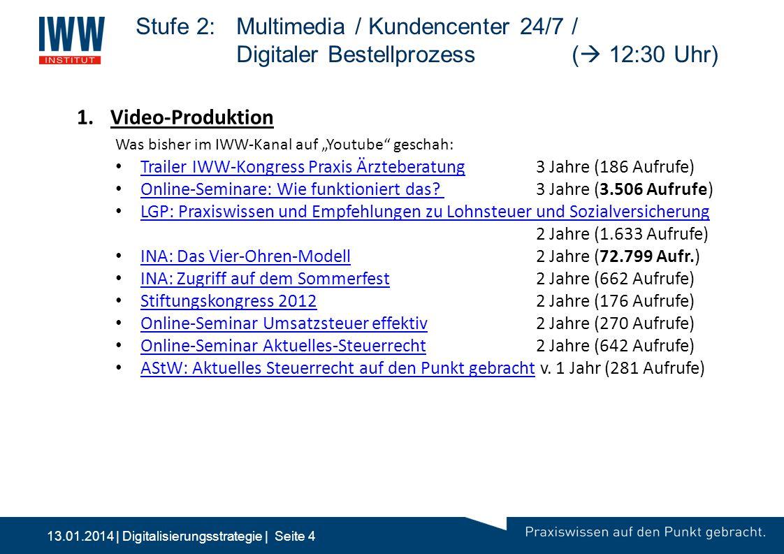 13.01.2014 | Digitalisierungsstrategie | Seite 4 Stufe 2:Multimedia / Kundencenter 24/7 / Digitaler Bestellprozess (  12:30 Uhr) 1.Video-Produktion W