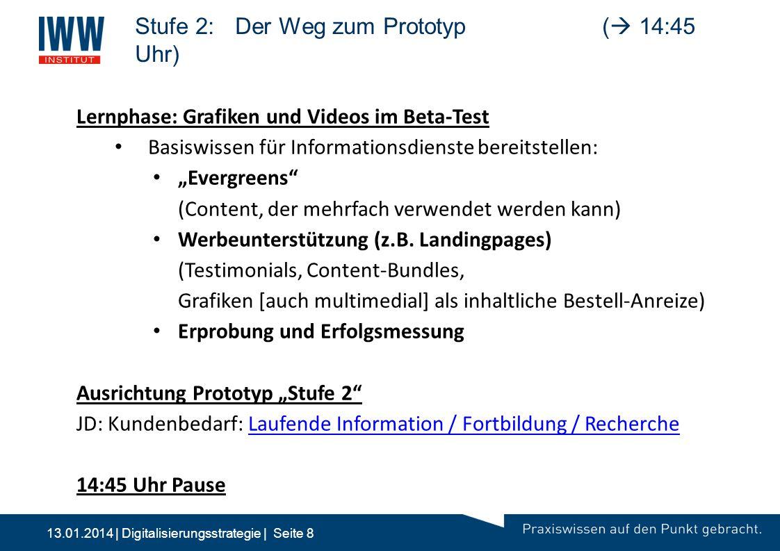 13.01.2014 | Digitalisierungsstrategie | Seite 8 Stufe 2:Der Weg zum Prototyp(  14:45 Uhr) 10:00 2Stufe 2: Multimedia | 24/7 | Bestellprozess | M&V -