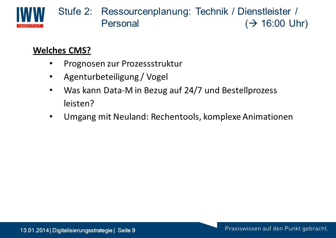 13.01.2014 | Digitalisierungsstrategie | Seite 9 Stufe 2: Ressourcenplanung: Technik / Dienstleister / Personal(  16:00 Uhr) 10:00 2Stufe 2: Multimed
