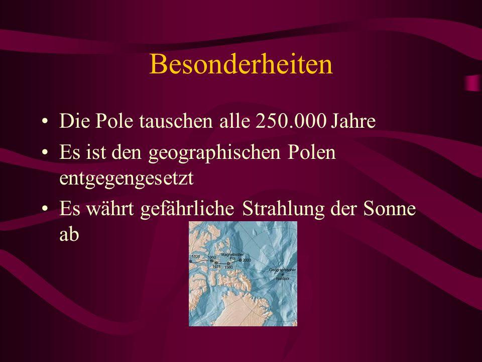 Besonderheiten Die Pole tauschen alle 250.000 Jahre Es ist den geographischen Polen entgegengesetzt Es währt gefährliche Strahlung der Sonne ab