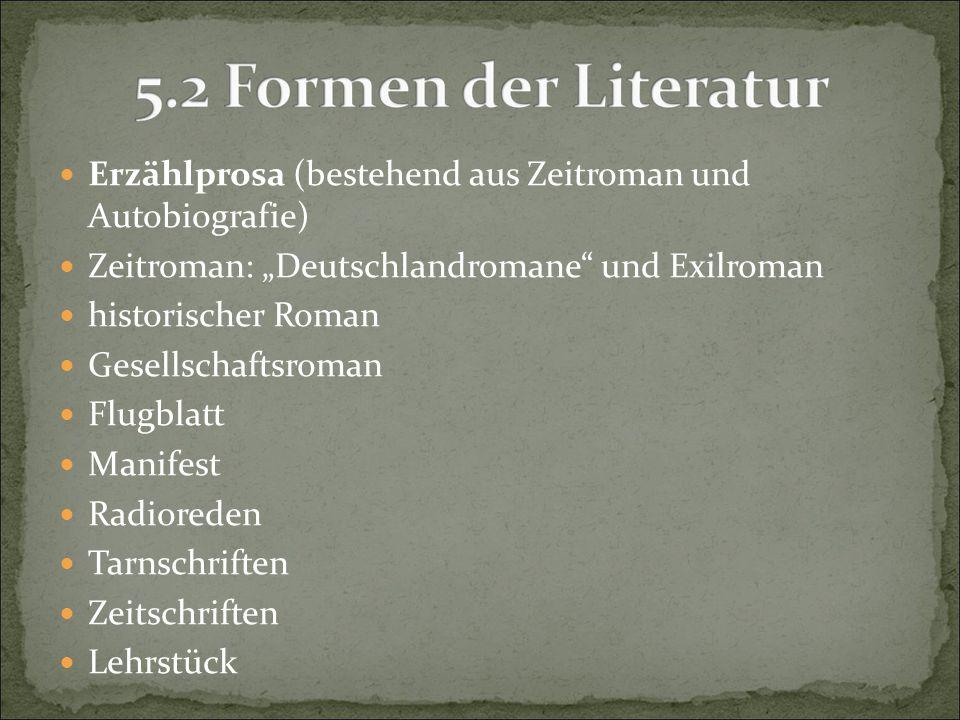 """Erzählprosa (bestehend aus Zeitroman und Autobiografie) Zeitroman: """"Deutschlandromane"""" und Exilroman historischer Roman Gesellschaftsroman Flugblatt M"""