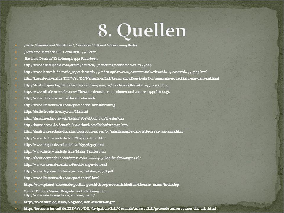 """""""Texte, Themen und Strukturen""""; Cornelsen Volk und Wissen 2009 Berlin """"Texte und Methoden 2""""; Cornelsen 1995 Berlin """"Blickfeld Deutsch"""" Schöhningh 199"""