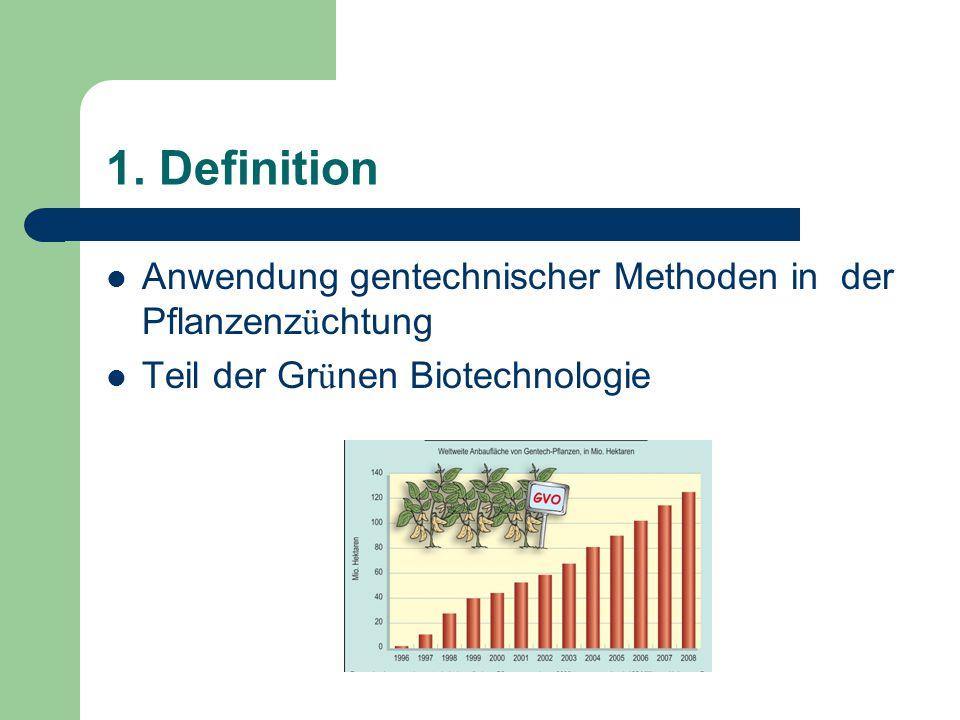 1. Definition Anwendung gentechnischer Methoden in der Pflanzenz ü chtung Teil der Gr ü nen Biotechnologie