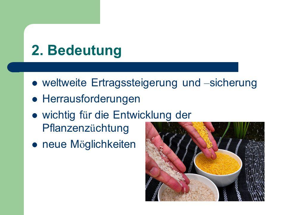 2. Bedeutung weltweite Ertragssteigerung und – sicherung Herrausforderungen wichtig f ü r die Entwicklung der Pflanzenz ü chtung neue M ö glichkeiten