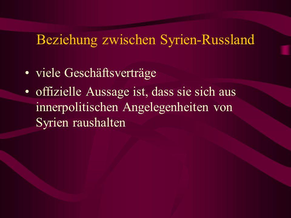 Beziehung zwischen Syrien-Russland viele Geschäftsverträge offizielle Aussage ist, dass sie sich aus innerpolitischen Angelegenheiten von Syrien raush