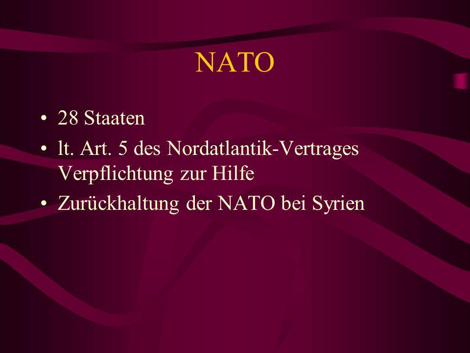 NATO 28 Staaten lt. Art. 5 des Nordatlantik-Vertrages Verpflichtung zur Hilfe Zurückhaltung der NATO bei Syrien