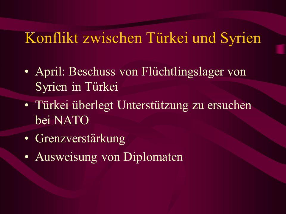 Konflikt zwischen Türkei und Syrien April: Beschuss von Flüchtlingslager von Syrien in Türkei Türkei überlegt Unterstützung zu ersuchen bei NATO Grenz