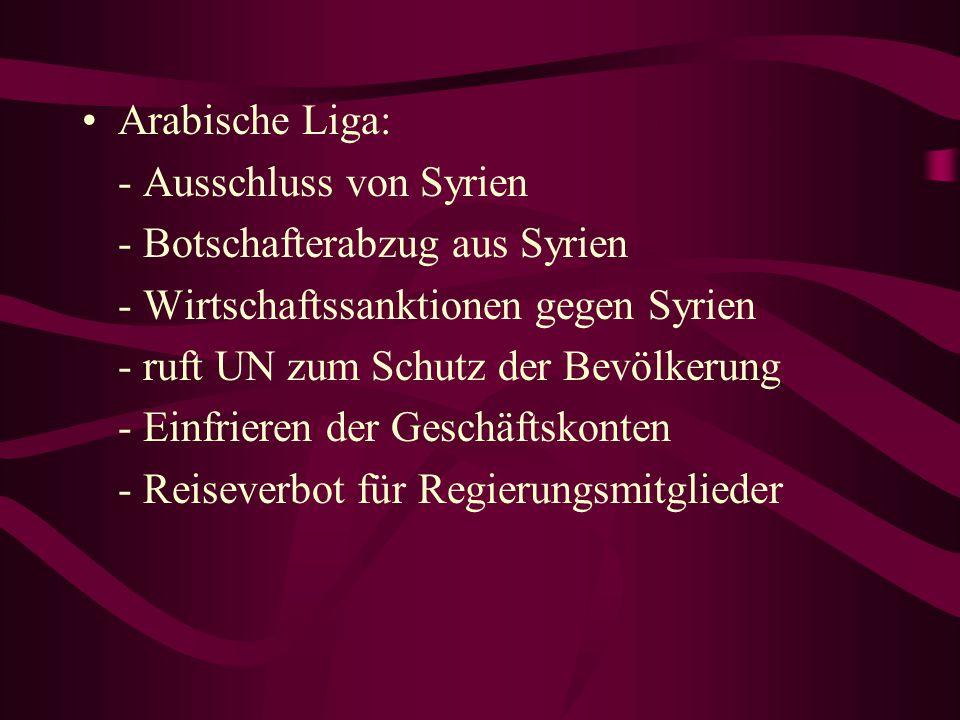 Arabische Liga: - Ausschluss von Syrien - Botschafterabzug aus Syrien - Wirtschaftssanktionen gegen Syrien - ruft UN zum Schutz der Bevölkerung - Einf