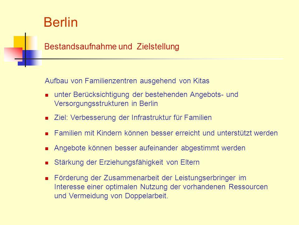 Berlin Aufbau von Familienzentren ausgehend von Kitas Bestandsaufnahme und Zielstellung unter Berücksichtigung der bestehenden Angebots- und Versorgun