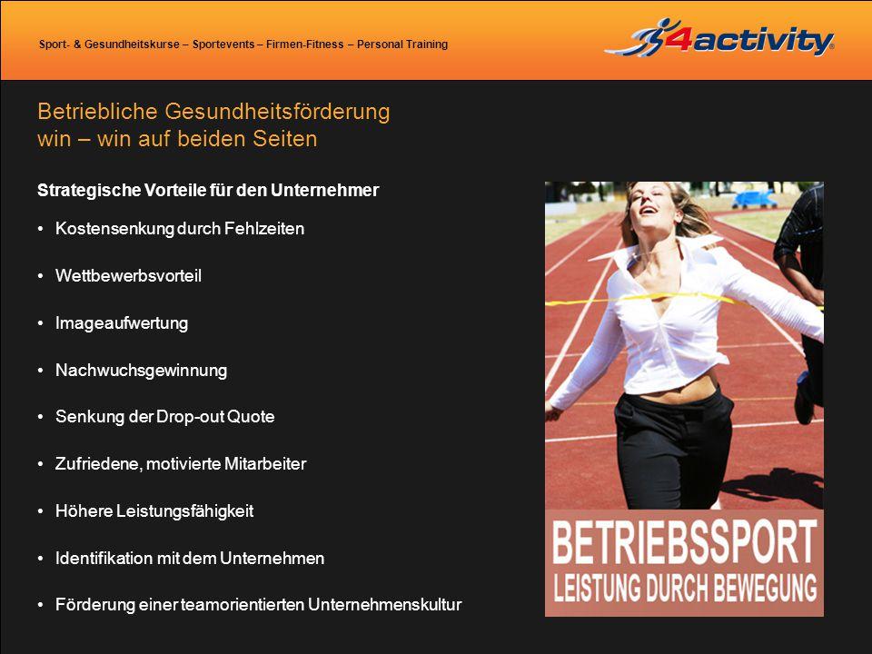 Sport- & Gesundheitskurse – Sportevents – Firmen-Fitness – Personal Training Betriebliche Gesundheitsförderung win – win auf beiden Seiten Strategisch