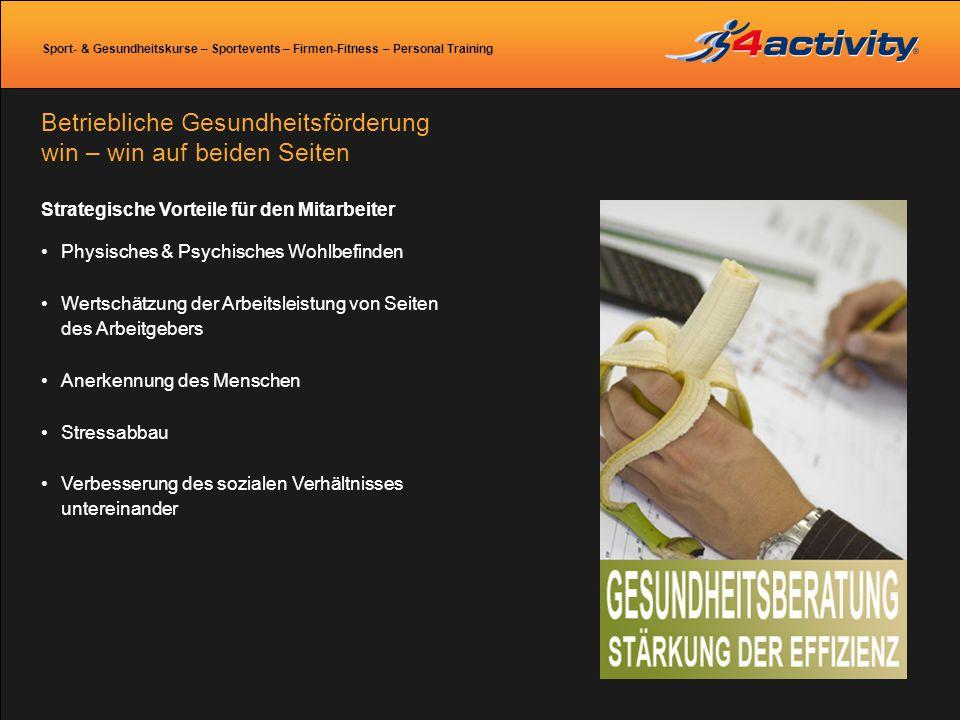 Sport- & Gesundheitskurse – Sportevents – Firmen-Fitness – Personal Training Strategische Vorteile für den Mitarbeiter Physisches & Psychisches Wohlbe
