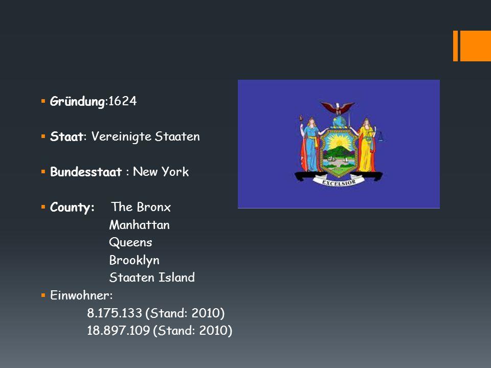  Gründung:1624  Staat: Vereinigte Staaten  Bundesstaat : New York  County: The Bronx Manhattan Queens Brooklyn Staaten Island  Einwohner: 8.175.1