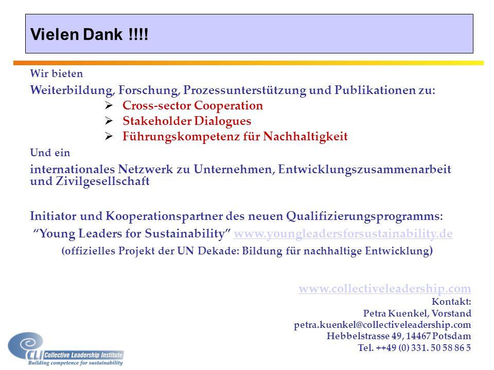 Vielen Dank !!!! www.collectiveleadership.com Kontakt: Petra Kuenkel, Vorstand petra.kuenkel@collectiveleadership.com Hebbelstrasse 49, 14467 Potsdam