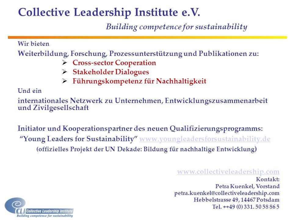 www.collectiveleadership.com Kontakt: Petra Kuenkel, Vorstand petra.kuenkel@collectiveleadership.com Hebbelstrasse 49, 14467 Potsdam Tel. ++49 (0) 331