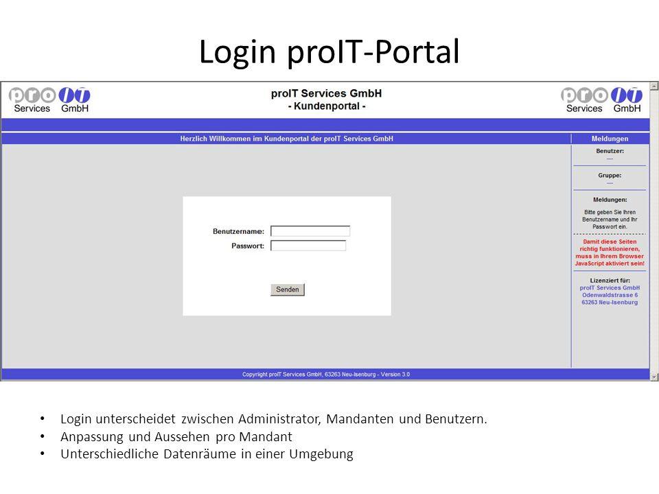 Login proIT-Portal Login unterscheidet zwischen Administrator, Mandanten und Benutzern. Anpassung und Aussehen pro Mandant Unterschiedliche Datenräume