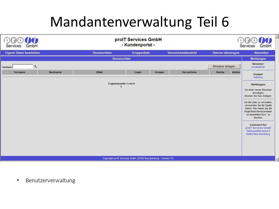 Mandantenverwaltung Teil 6 Benutzerverwaltung