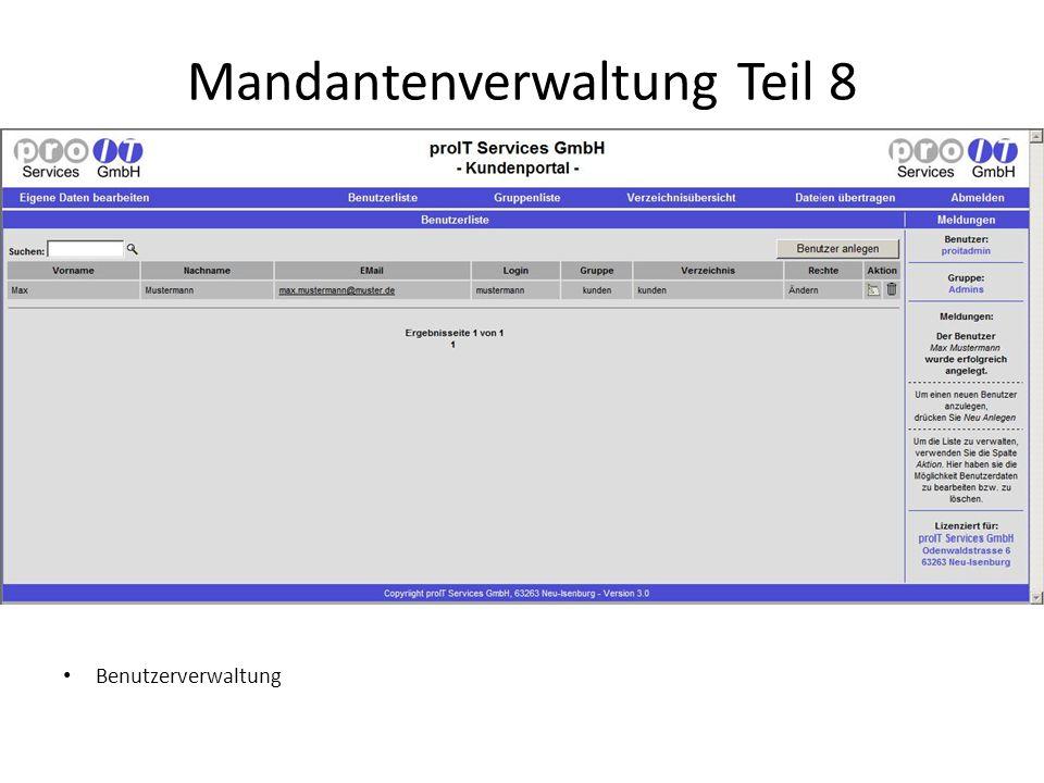 Mandantenverwaltung Teil 8 Benutzerverwaltung