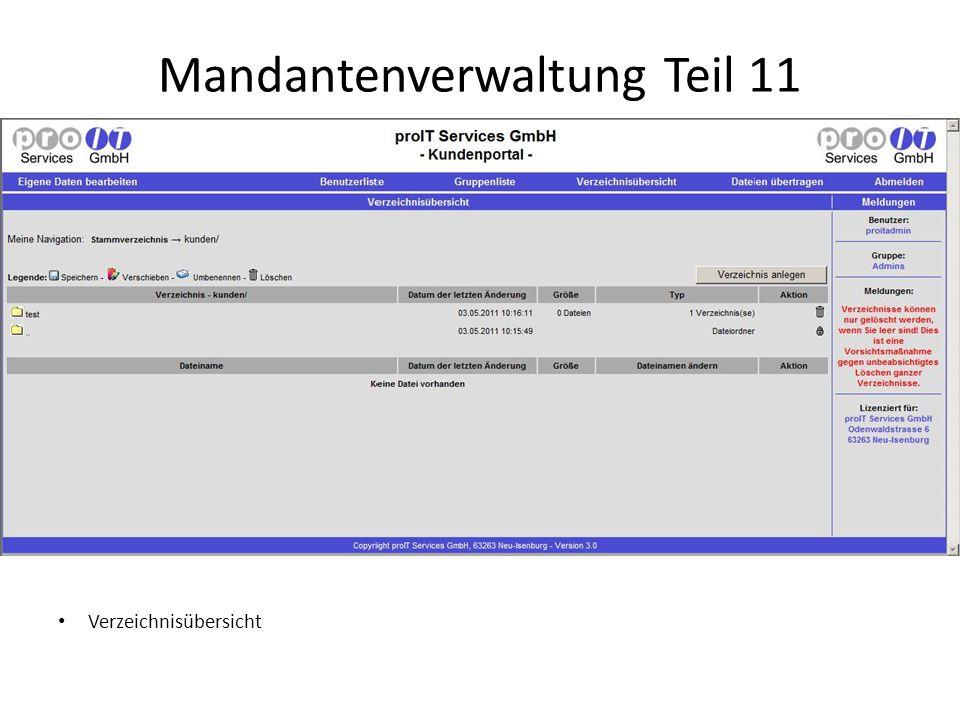 Mandantenverwaltung Teil 11 Verzeichnisübersicht