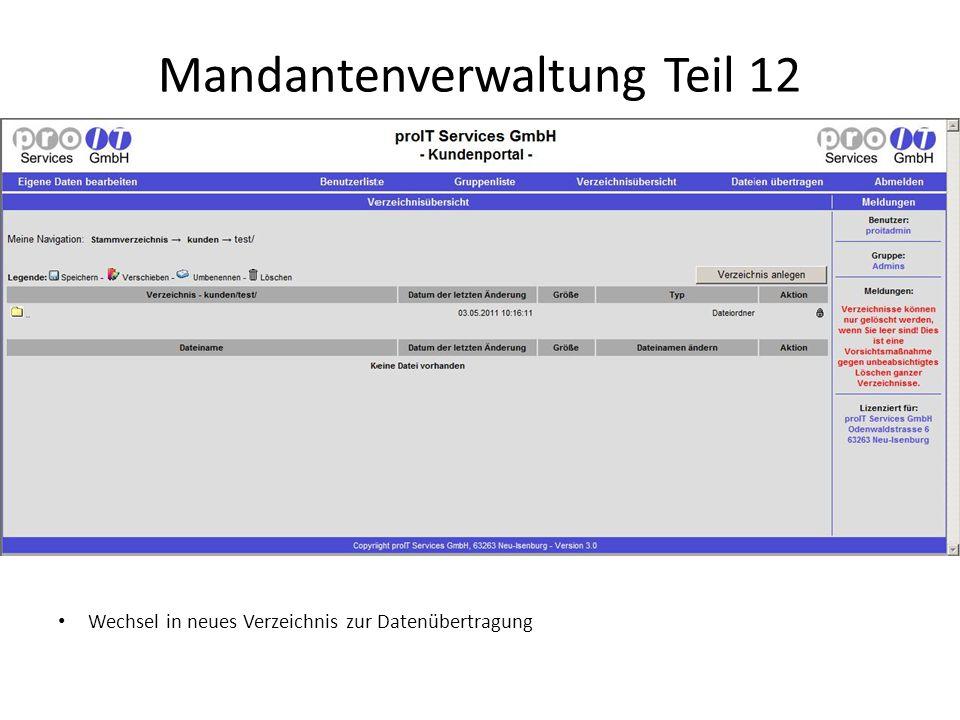 Mandantenverwaltung Teil 12 Wechsel in neues Verzeichnis zur Datenübertragung