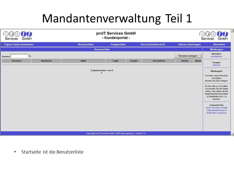Mandantenverwaltung Teil 1 Startseite ist die Benutzerliste