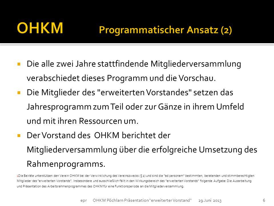 epr OHKM Pöchlarn Präsentation erweiterter Vorstand 29.Juni 20135  Der Erweiterter Vorstand 1 des OHKM erarbeitet und beschließt jedes Jahr für das nächste Jahr ein Arbeitsrahmenprogramm mit einer Vorschau für das übernächste Jahr.