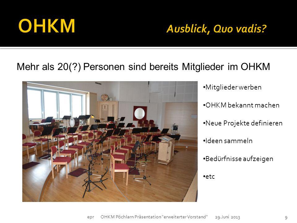 Mehr als 20(?) Personen sind bereits Mitglieder im OHKM epr OHKM Pöchlarn Präsentation erweiterter Vorstand 29.Juni 20139 Mitglieder werben OHKM bekannt machen Neue Projekte definieren Ideen sammeln Bedürfnisse aufzeigen etc