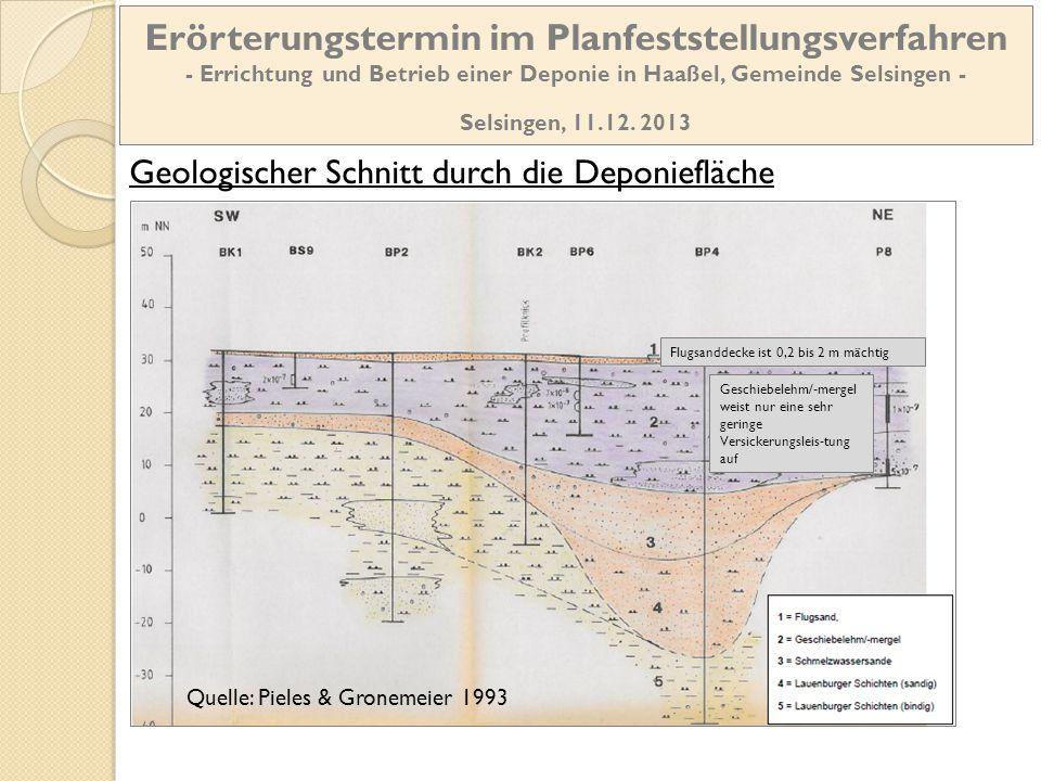 Geologischer Schnitt durch die Deponiefläche Quelle: Pieles & Gronemeier 1993 Geschiebelehm/-mergel weist nur eine sehr geringe Versickerungsleis-tung