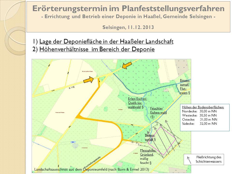 Landschaftsausschnitt aus dem Deponieumfeld (nach Born & Ermel 2013) Höhen der Bodenoberflächen: Nordecke: 30,00 m NN Westecke: 30,50 m NN Ostecke: 31