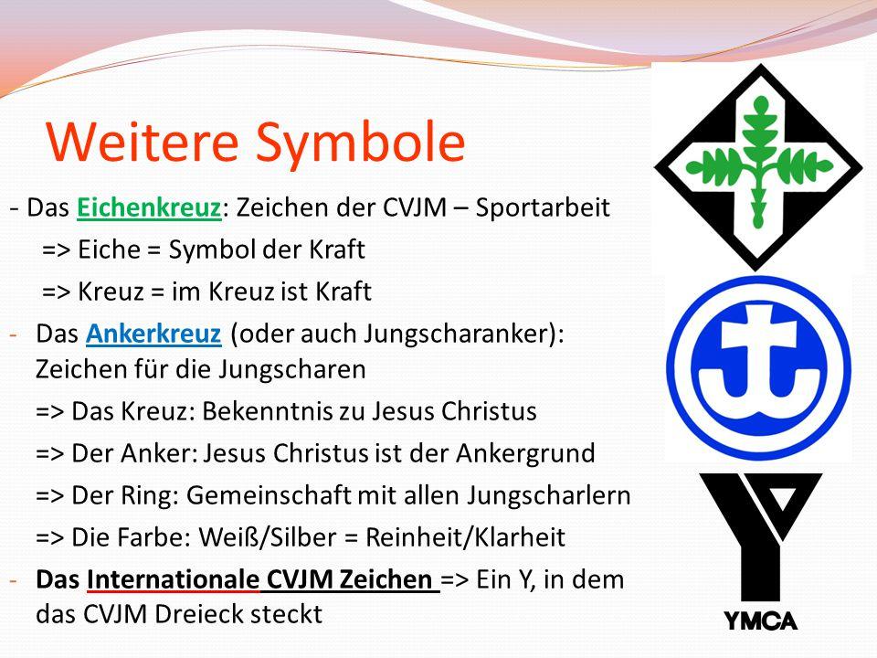 Weitere Symbole - Das Eichenkreuz: Zeichen der CVJM – Sportarbeit => Eiche = Symbol der Kraft => Kreuz = im Kreuz ist Kraft - Das Ankerkreuz (oder auc