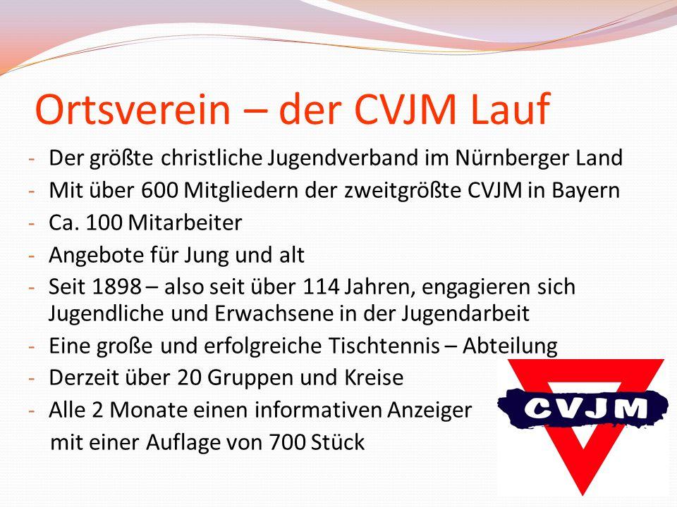 Ortsverein – der CVJM Lauf - Der größte christliche Jugendverband im Nürnberger Land - Mit über 600 Mitgliedern der zweitgrößte CVJM in Bayern - Ca. 1
