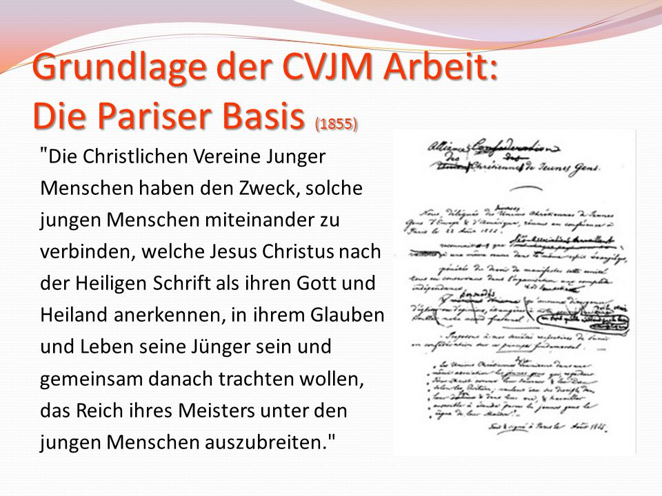 Grundlage der CVJM Arbeit: Die Pariser Basis (1855)