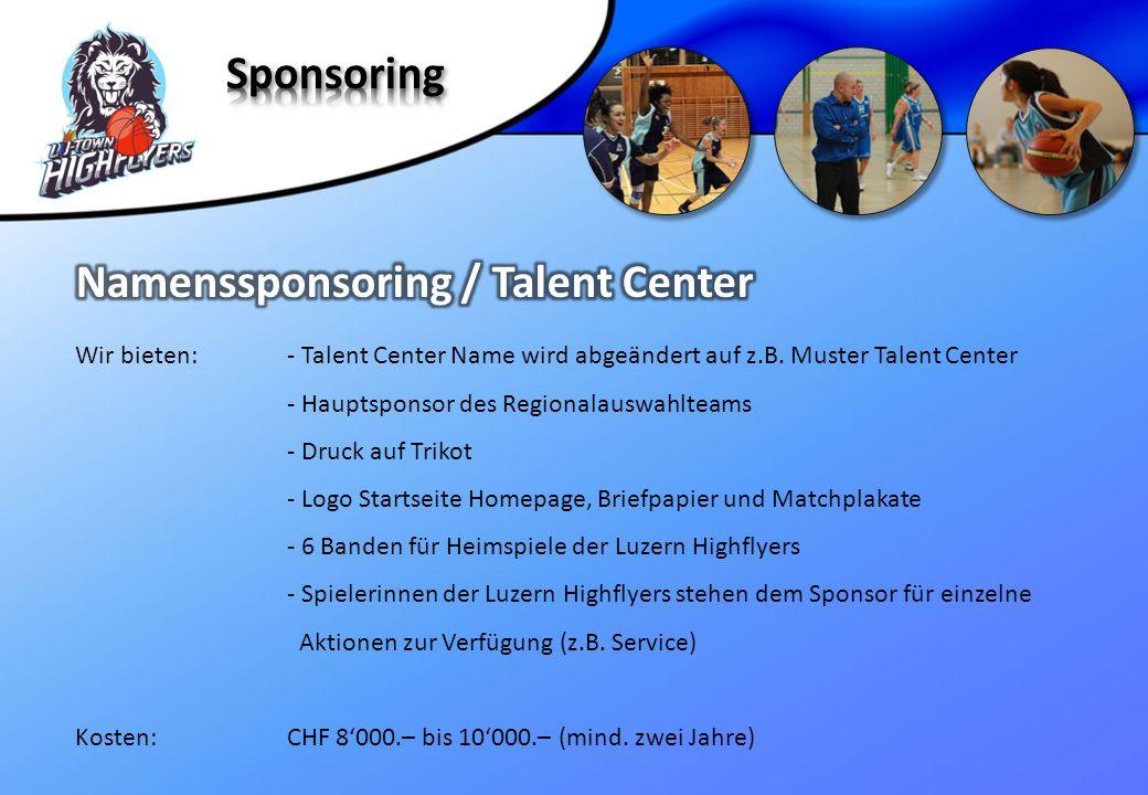 Wir bieten:- Talent Center Name wird abgeändert auf z.B. Muster Talent Center - Hauptsponsor des Regionalauswahlteams - Druck auf Trikot - Logo Starts