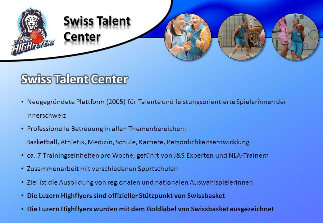 Neugegründete Plattform (2005) für Talente und leistungsorientierte Spielerinnen der Innerschweiz Professionelle Betreuung in allen Themenbereichen: B