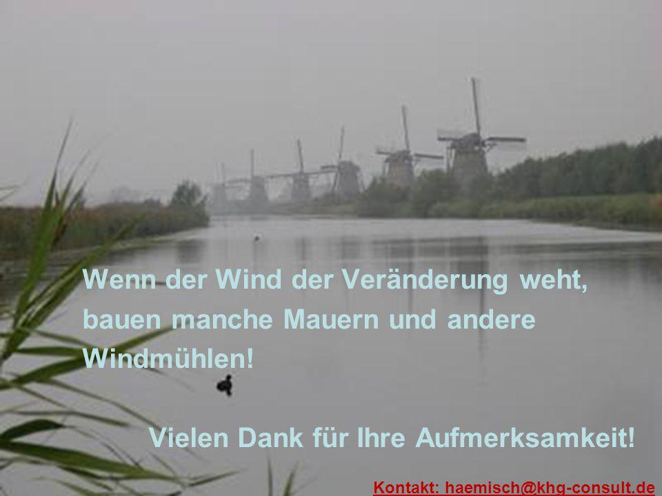 Wenn der Wind der Veränderung weht, bauen manche Mauern und andere Windmühlen! Vielen Dank für Ihre Aufmerksamkeit! Kontakt: haemisch@khg-consult.de